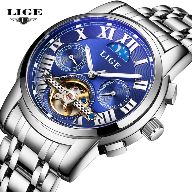 Relojes Watches Men Top Brand Luxury LIGE Tourbillon Automatic Mechanical Watch Mens Fashion sport Wristwatch relogio masculino mens wristwatch relogio masculino fashion sport watches men lige tourbillon top brand luxury automatic mechanical watch