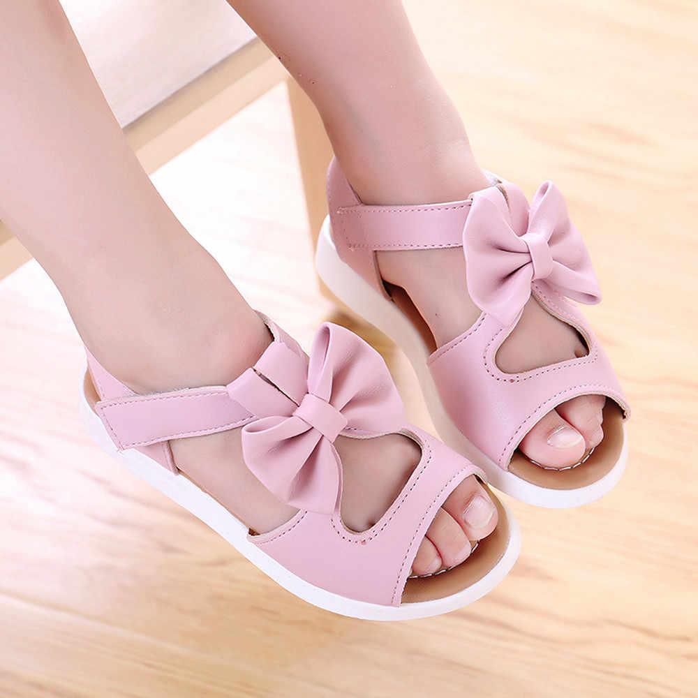 nuevo producto volumen grande amplia gama MUQGEW verano niños sandalias bebé niña playa zapatos moda Bowknot niñas  zapatos planos precio zapatillas casuales 1-6Y