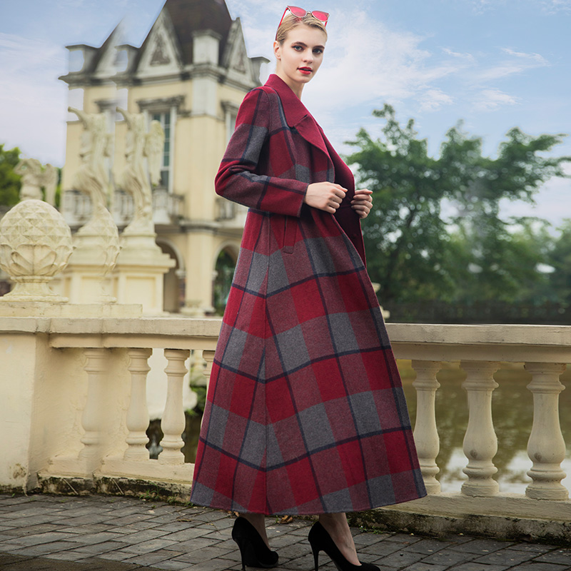 De Laine Manteau Manteaux Pardessus Long Chaud Britannique À Dame Femmes Ol Carreaux 6978 D'hiver Style TnFHwIWzq