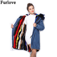 Furlove New 2016 Winter Coats Women Jackets Real Large Raccoon Fur Collar Thick Ladies Parkas Army Green Pink Fur Outwear