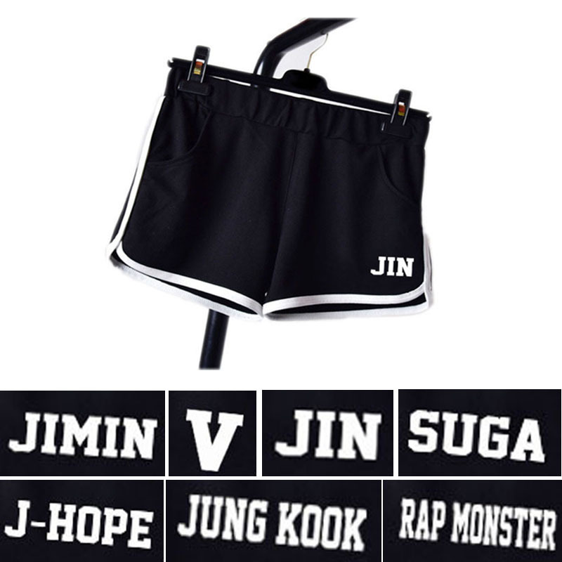 2018 new kpop bts Bangtan Boys Official member name Shorts cotton thermal pants Star surrounding Casual running shorts