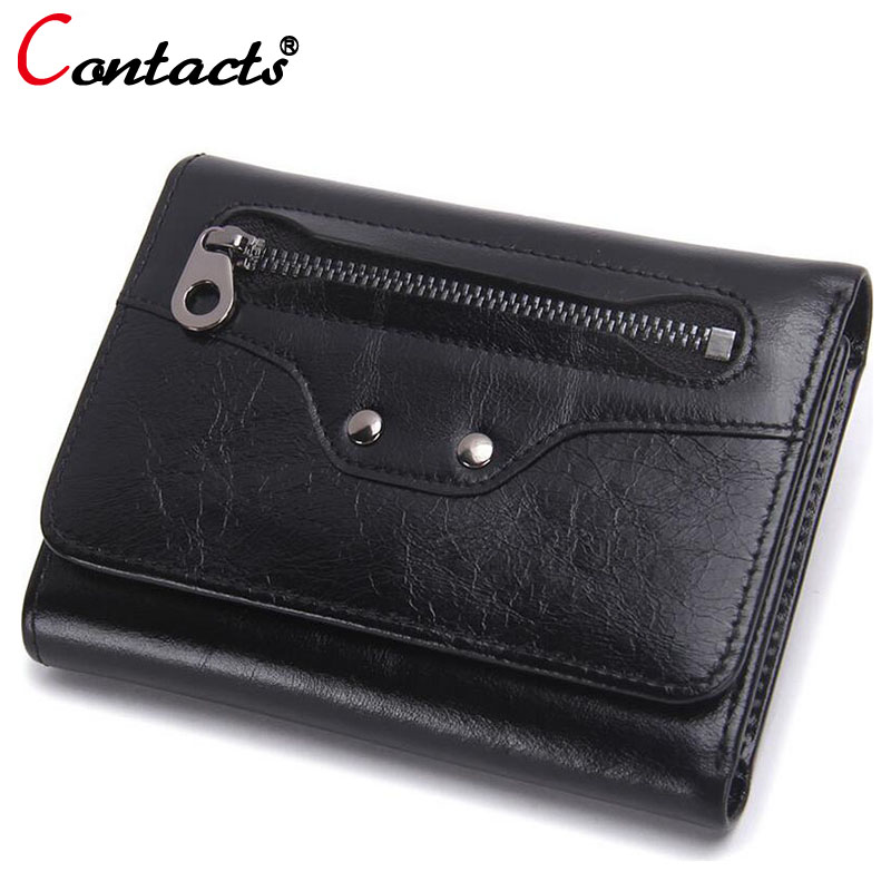 CONTACT'S Luxury Brand Genuine Leather Women Wallet Female Coin Purse Small Credit Card Holder Lady Clutch Perse Red Short walet 2017 genuine cowhide leather brand women wallet short design lady small coin purse mini clutch cartera high quality