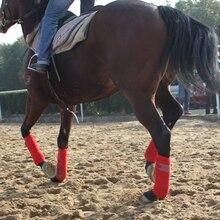 4 piezas franela suave caballo Legging Protector ecuestre equitación equipo de carreras de caballos ejercicio botas equipo caballo brazaletes un