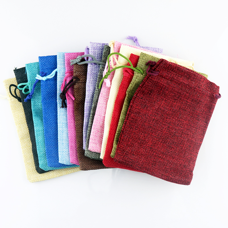 10pcs/lot Multi Colors Jute Bags Small Drawstring Jewelry Pouch 7x9 10x14cm Charms Jewelry Packaging Bags Cute Linen Gift Bag