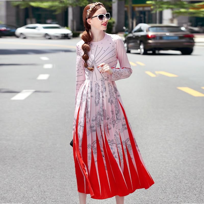 Long Dress New High Quality Runway 2018 Spring Winter Fashion Women Party Boho Beach Vintage Elegant