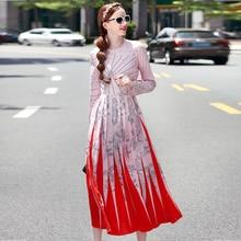 Long Dress New High Quality Runway 2018 Spring Winter Fashion Women Party Boho Beach Vintage Elegant Chic Print Pleated Dresses