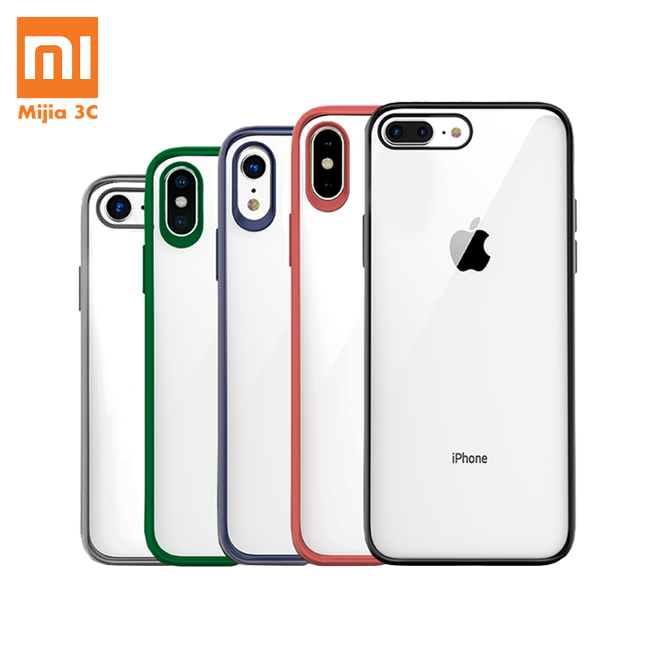 Original Xiaomi Phone Case For IPhone X XR XS Max 8 7 Plus Transparent TPU PC Shell Bag Shockproof Colorful Frame Back Cover