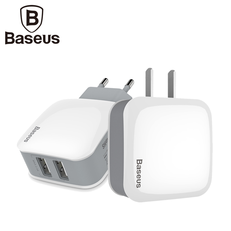 Baseus 5V2.4A Dual 2 Ports USB Wall Charger Adapter US EU Pls
