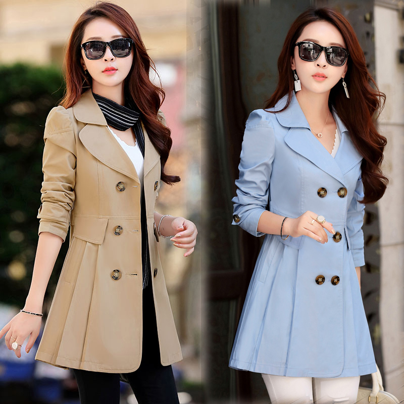 2017 spring jacket women solid color windbreaker large size long double breasted coat female Outwear For