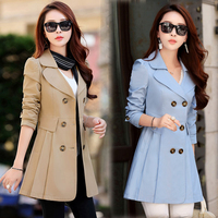 2016 Autumn Jacket Women Solid Color Windbreaker Large Size Long Double Breasted Coat Female Outwear For