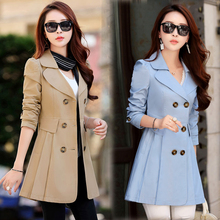 2018 spring jacket women solid color windbreaker large size long double breasted coat female Outwear For