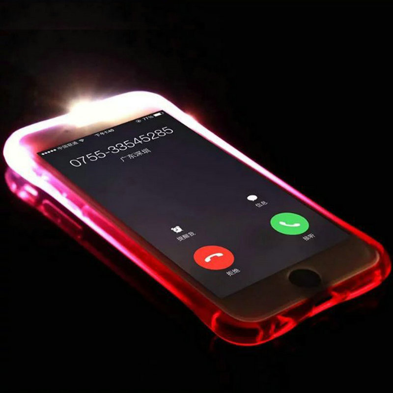 cheaper 0b251 c73a0 US $1.43 20% OFF|New Soft TPU LED Flash Light Up Call Cover Case Protector  Skin for iPhone 6 Plus /6S Plus 5.5