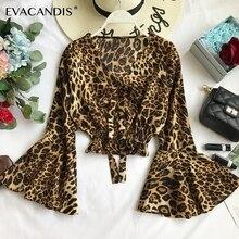 Leopard Ruffle Crop Top Women Blouse Sexy Boho Beach Flare Sleeve Bow Korean Floral V Neck Summer Short Chiffon Shirt