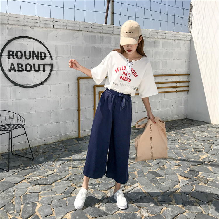 19 Women Casual Loose Wide Leg Pant Womens Elegant Fashion Preppy Style Trousers Female Pure Color Females New Palazzo Pants 51