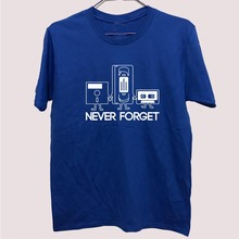 Fashion New T-shirts Men Short Sleeve Never Forget Floppy Disc VHS Cassette Tech Geek Print T Shirts Male Undershirts Tshirts