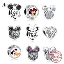цены Fit Pandora Charms 925 Sterling Silver Original Bracelet Mickey Minnie Beads Charms Cartoon Beads for Jewelry Making Berloque