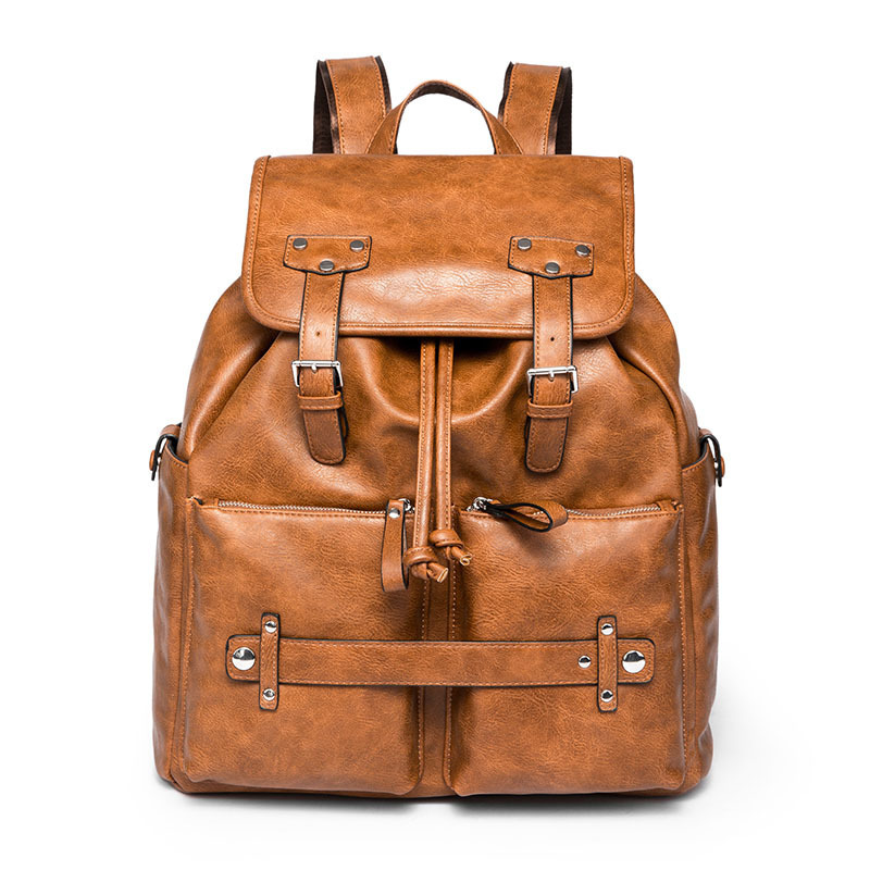 Vintage Women Backpack for Teenage Girls School Bags Fashion Large Backpacks High Quality PU Leather Black Bag Brown Pack summer new women hasp backpacks solid fashion school bag for teenage girls high quality pu leather vintage backpack travel bags