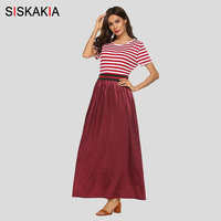 fc209319d2292 Siskakia Summer Dress 2019 New Casual Maxi Long Fashion Stripe Patchwork  Round Neck Short Sleeve Swing Muslim Clothes Red