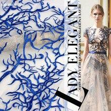 CA081-120 cm Breite 5yds./lot Bestickt Blaue Spitze Stoff für Hochzeitskleid Abendkleid Kleidung Zubehör DIY Spitze Stoff