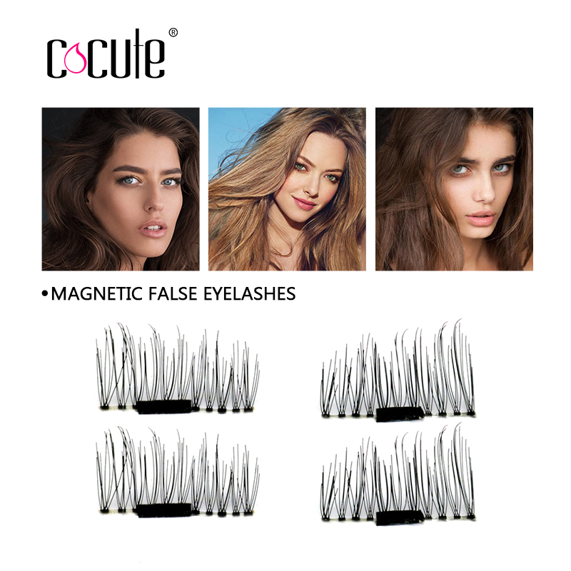Cocute 3D Magnetic False Eyelashes 4pcs/Pair Easy To Wear Extension Magnetic Eyelashes Makeup Soft Hair Magnetic Fake Eyelashes