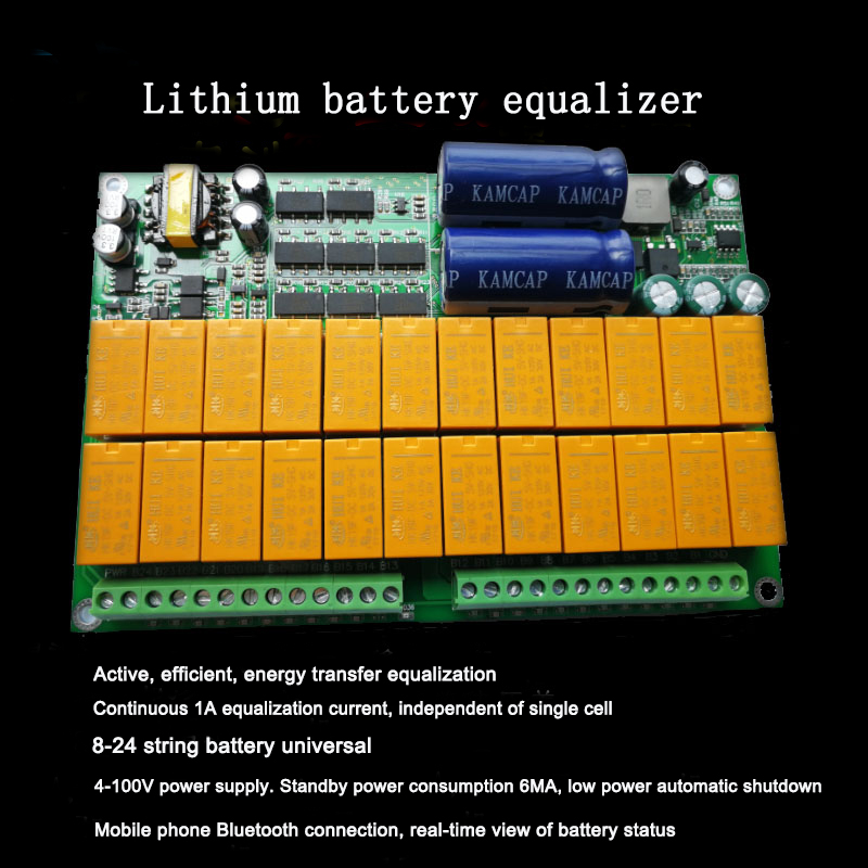Bluetooth Lithium Battery Active Equalizer 1A Balance 2S-24S BMS Iron lithium titanate ternary lithium battery with Box