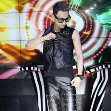 Summer outerwear male fashion personality patchwork leather vest sleeveless