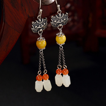 L&P Genuine 925 Sterling Silver Retro Jade & Amber Beeswax Long Earrings Elegant Engagement Jewelry For Women Gifts
