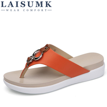 2019 LAISUMK Women Beach Flip Flops Bohemia Floral Summer Slippers Ladies Fashion Sandals Shower Slides Free Shipping