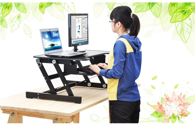EasyUp Height Adjustable Sit Stand Desk Riser Foldable Laptop Desk Stand With Keyboard Tray Notebook/Monitor Holder Stand ...