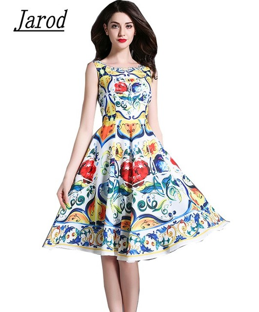 3c8e89f262 US $21.95 23% OFF|Runway Designer Summer Dress 2018 Women Luxury Print  Flower Sleeveless Elegant Slim Tank Female Vintage Brand Clothing-in  Dresses ...