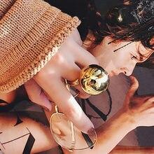 Elegante e elegante grande anel de bola de metal abertura ajustável moda jóias personalidade anéis femininos
