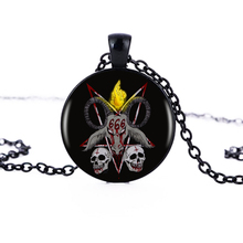 1pcs/lot 2017 Personality Baphomet Logo Pendant Necklace Art Black Cabochon Vintage Handmade Necklace Women Jewelry HZ1