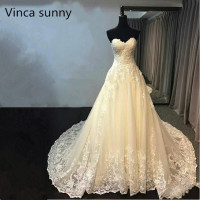 Vinca sunny Vestido de Noiva Lace wedding dresses 2019 Custom made Illusion Royal Train appliques lace wedding dress bridal