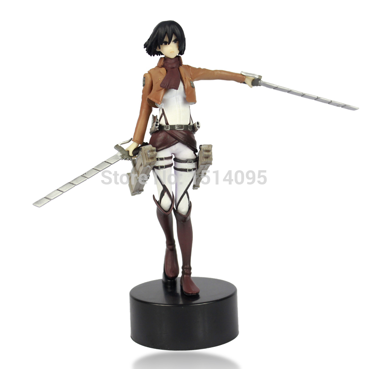 512cm Anime Attack On Titan Mikasa Ackerman PVC Action Figure Toy Doll Model AT018 anime attack on titan mini messenger bag boys ataque on titan school bags mikasa ackerman eren shoulder bags kids crossbody bag