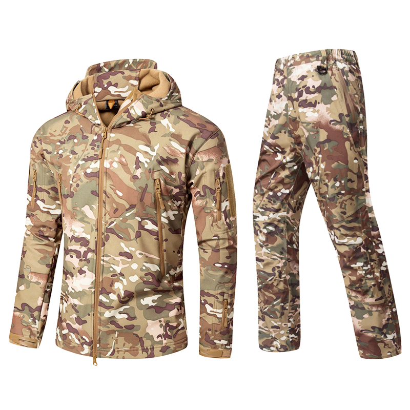 Man Winter Outdoor Hunting Sets Waterproof Softshell Tactical Camouflage Jackets Pants Military Suits Man Sport Hikin