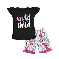 Fashion Baby Girls Clothes 2pcs Little Girls Boutique Clothing Summer Ruffle Sleeve Girls Tee Short Clothing