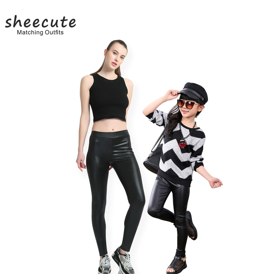 SheeCute Household Matching Outfits Fake Leather-based Leggings Attractive Girls ladies Skinny material mid waist skinny Stretchy leggings pants Matching Household Outfits, Low cost Matching Household Outfits, SheeCute Household Matching...