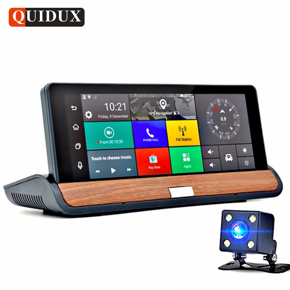 QUIDUX 6.86 Touch 3G Android Car DVR GPS Sygic Navigation Dual Lens Full HD 1080P Video Camera Recorder Bluetooth Dashcam quidux car dvr vehicle gps wifi android navigation 8g 512mb wifi auto video camera recorder with europe us russia map