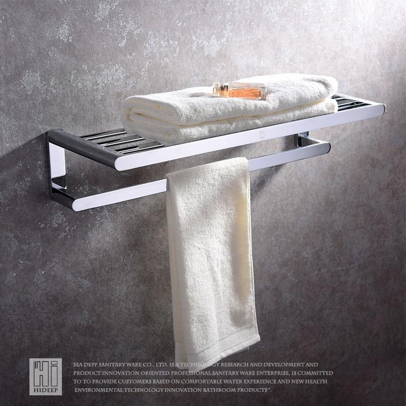 HIDEEP étagère de salle de bain en cuivre chromé montage mural en aluminium accessoires de salle de bain Double étagère à serviettes