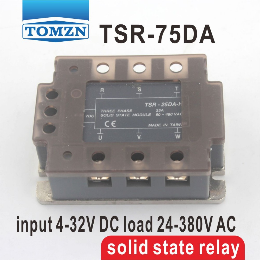 75DA TSR-75DA Three-phase SSR input 4-32V DC load 24-380V AC single phase AC solid state relay free shipping mager 10pcs lot ssr mgr 1 d4825 25a dc ac us single phase solid state relay 220v ssr dc control ac dc ac