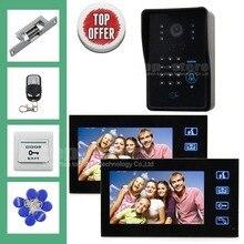 DIYSEUCR 7 Pulgadas Monitor de Video Teléfono de La Puerta Sistema de Intercomunicación IR Cámara Resistente A La Intemperie Lector de RFID Teclado 2 Monitor 1 Cámara