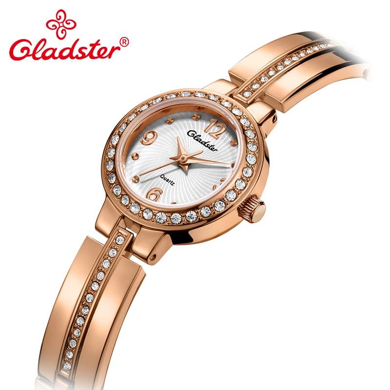 2317a995752 Gladster Japan Movement Women Bracelet Watch Gold Silvery Strap Ladies  Dress Clock Waterproof Fashion Quartz Female