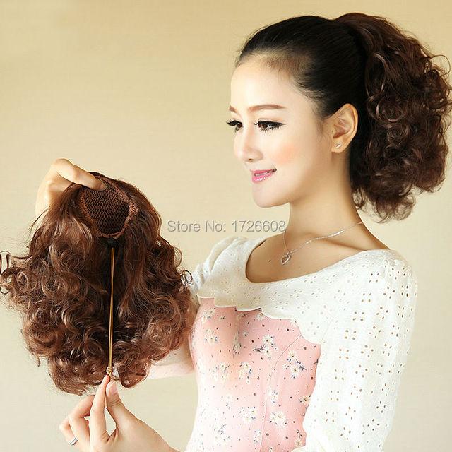 Lady Fashion Twist Drawstring Ponytails Afro Kinky Curly Short Hair