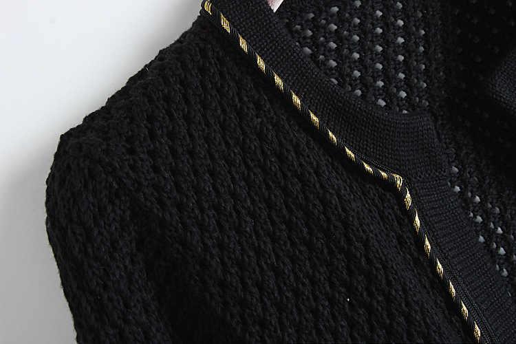 2018 весенне-осенний элегантный свитер с круглым вырезом, кардиган, черный короткий тонкий свитер с карманами для офиса, пальто, модная верхняя одежда