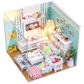 M002  Girl's bedroom wooden doll house include furniture,Light,dust cover NEW hongda diy dollhouse miniature