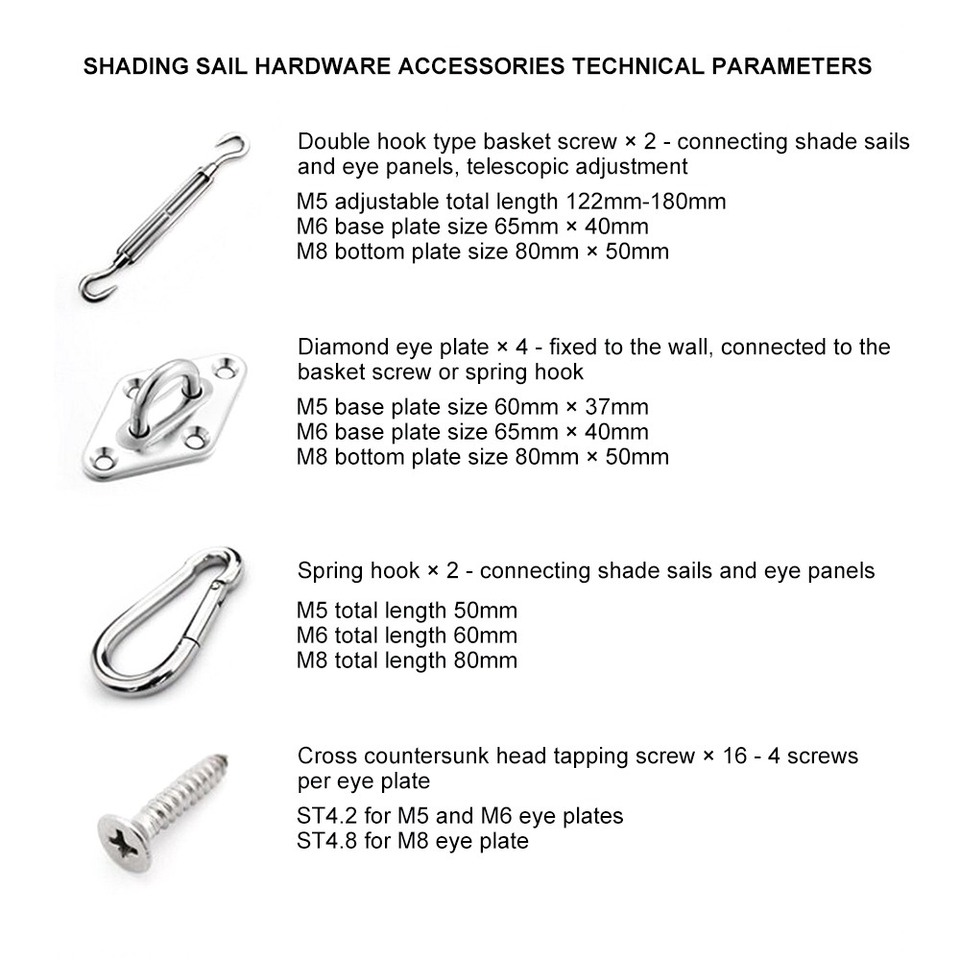 Sun Sail Shade Canopy Fixing Fittings Hardware Accessory Kit J