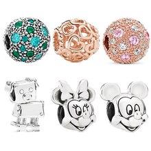 New Original Sliver Bead Mickey Mickey Minnie Robot dog Clip Love Charm Fit Pandora Bracelet Necklace DIY Women Jewelry недорого