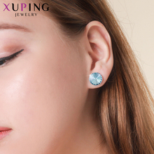 Xuping  10*10mm Lovely Round Design Studs Earrings Colorful Crystals from Swarovski Elegant Jewelry  Women Party Gift M82-20408 swarovski lovely crystals mini 5242904