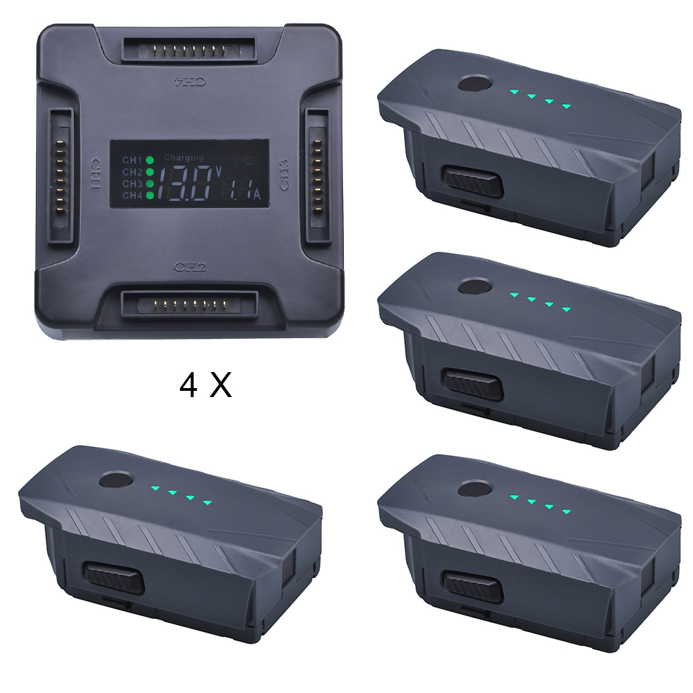 4Pcs High Power Intelligent Polymer Flight Battery pack with 4-in-1 Smart Charging Hub for DJI Mavic Pro Drone original dji mavic pro rc quarcopter drone fpv racing power part black 13 05v 5a intelligent 3 in 1 parallel battery charger