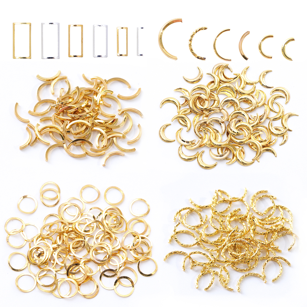 1 Pack Mixed 3D DIY Hollow Metal Frame Nail Art Decorations Gold Rivet Manicure Accessories DIY Shell Slider Nail Studs CH698 12
